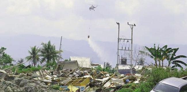 Permukiman Balaroa Disiram Disinfektan Dari Helikopter