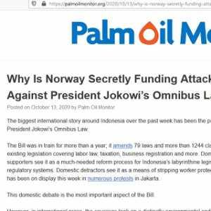 Palm Oil Monitor Tuding Norwegia Diam-Diam Danai Kampanye Tolak Omnibus Law Di Indonesia