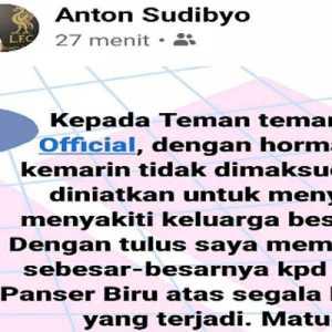 Akun Anton Sudibyo Minta Maaf, Panser Biru Tetap Tuntut Bertemu Langsung
