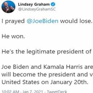 Senator Lindsey Graham Akui Sempat Mendoakan Joe Biden Kalah, Sekarang Ia Mengakui Kemenangan Itu Sah