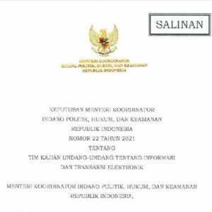 Lewat Kepmenko Polhukam, Pemerintah Resmi Bentuk Tim Kajian UU ITE